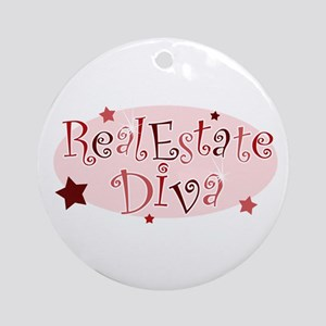 """Real Estate Diva"" [red] Ornament (Round)"